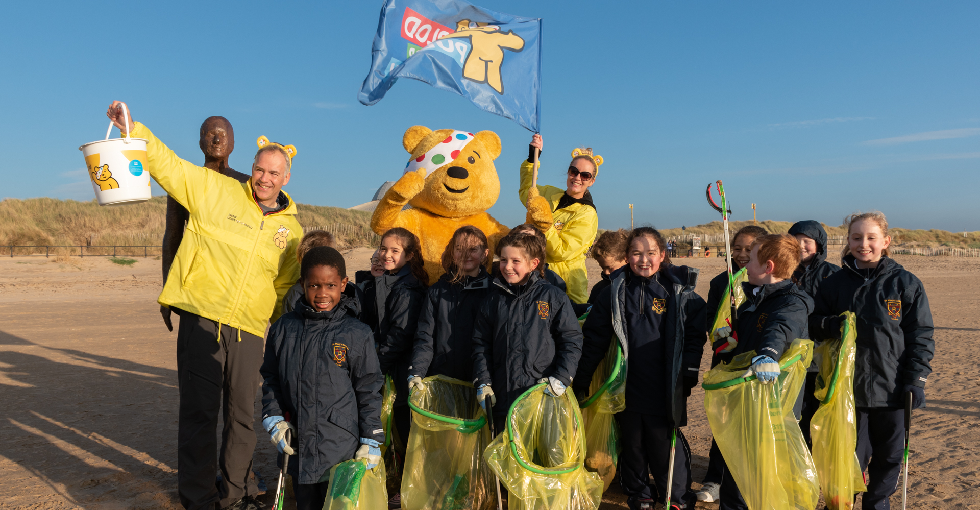 fRriends of Crosby Beach - St Mary's pupils after their beach clean with Pudsey